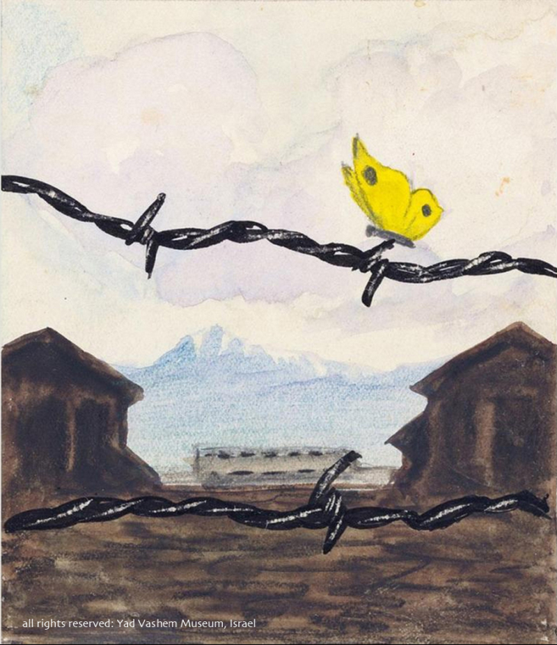 Art Made in concentration camp painting of butterfly
